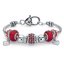 Red Crystal Bali-Style Beaded Heart Charm Bracelet in Silvertone 7""