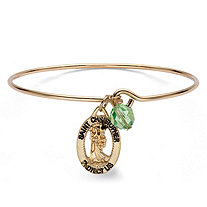 St. Christopher Green Crystal Bead Charm Bangle Bracelet in Gold Tone 7""