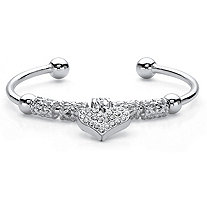 SETA JEWELRY Crystal Heart Charm and Barrel Beaded Cuff Bracelet in Silvertone 7