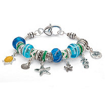 SETA JEWELRY Blue and Green Crystal Bali-Style Beaded Coastal Charm Bracelet in Antiqued Silvertone 7