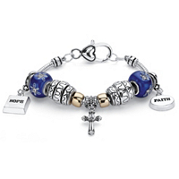 Crystal Bali-Style Inspirational Beaded Charm Bracelet ONLY $9.00