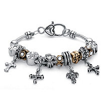Two-Tone Crystal Bali-Style Inspirational Beaded Charm Bracelet in Antiqued Silvertone and Gold Tone 7
