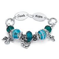 Blue Crystal Bali-Style Inspirational Cross Beaded Charm Bracelet