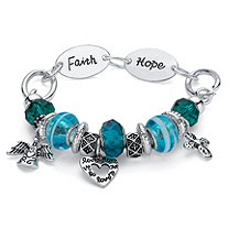 Blue Crystal Bali-Style Inspirational Cross Beaded Charm Bracelet in Antiqued Silvertone 7""