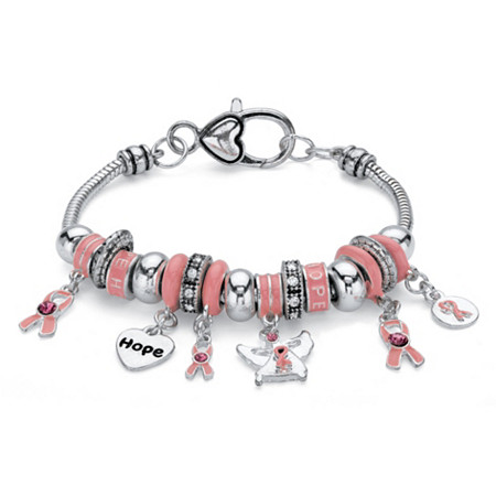 """Pink Crystal Breast Cancer Awareness Bali-Style Beaded Charm Bracelet in Antiqued Silvertone 7"""" at PalmBeach Jewelry"""