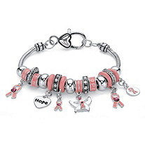 Pink Crystal Breast Cancer Awareness Bali-Style Beaded Charm Bracelet in Antiqued Silvertone 7""