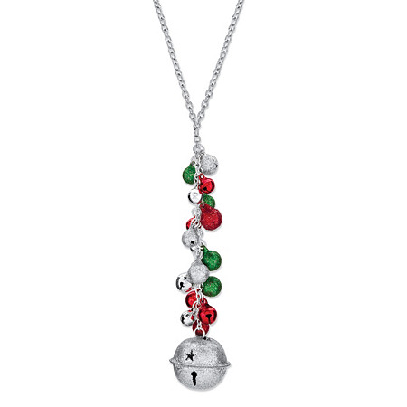 Holiday Silver, Red and Green Jingle Bell Y Necklace in Silvertone 20