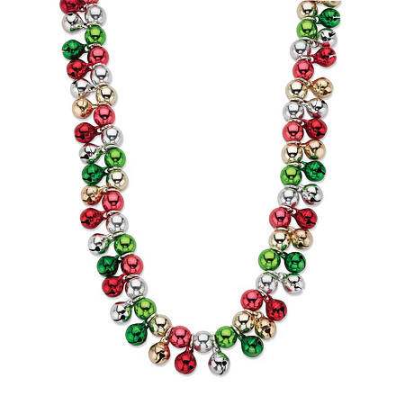 Holiday Multicolor Jingle Bell Cluster Necklace in Silvertone 17