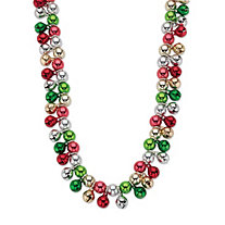 "Holiday Multicolor Jingle Bell Cluster Necklace in Silvertone 17"" - 20"""