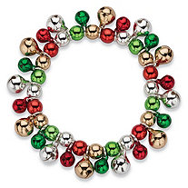 Holiday Multicolor Jingle Bell Beaded Cluster Stretch Bracelet in Silvertone 7""