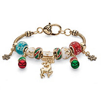 Holiday Multicolor Bali-Style Beaded Charm Bracelet in Gold Tone with Reindeer Charm 7.5""