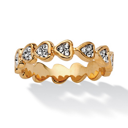 Bezel-Set Round Crystal 14k Yellow Gold-Plated Band of Hearts Ring at PalmBeach Jewelry