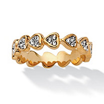 Bezel-Set Round Crystal 14k Yellow Gold-Plated Band of Hearts Ring