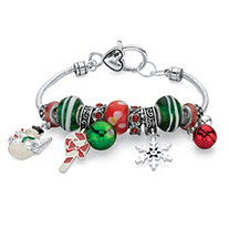 Green and Red Holiday Bali-Style Beaded Charm Bracelet in Silvertone 7""