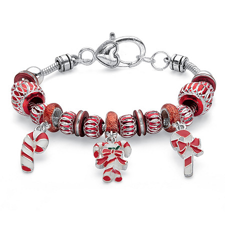 """Red and White Holiday Bali-Style Candy Cane Beaded Charm Bracelet in Silvertone 7.5"""" at PalmBeach Jewelry"""