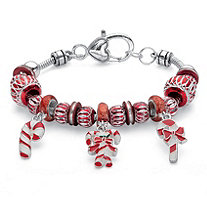 Red and White Holiday Bali-Style Candy Cane Beaded Charm Bracelet in Silvertone 7.5""