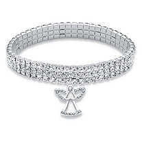 Holiday Round Crystal Triple Row Angel Charm Stretch Bracelet in Silvertone 7""