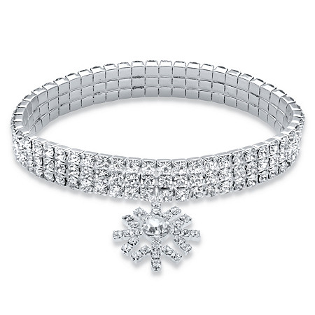 "Holiday Round Crystal Triple Row Snowflake Charm Stretch Bracelet in Silvertone 7"" at PalmBeach Jewelry"