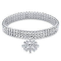 Holiday Round Crystal Triple Row Snowflake Charm Stretch Bracelet in Silvertone 7""