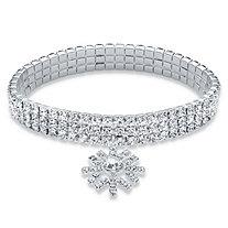 Holiday Round Crystal Triple Row Snowflake Charm Stretch Bracelet in Silvertone 7