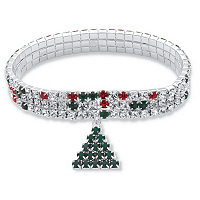 Holiday Red And Green Crystal Triple Row Christmas Tree Charm Stretch Bracelet ONLY $6.99