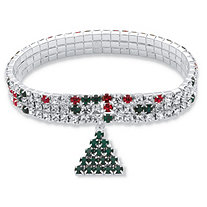 Holiday Red and Green Crystal Triple Row Christmas Tree Charm Stretch Bracelet in Silvertone 7""