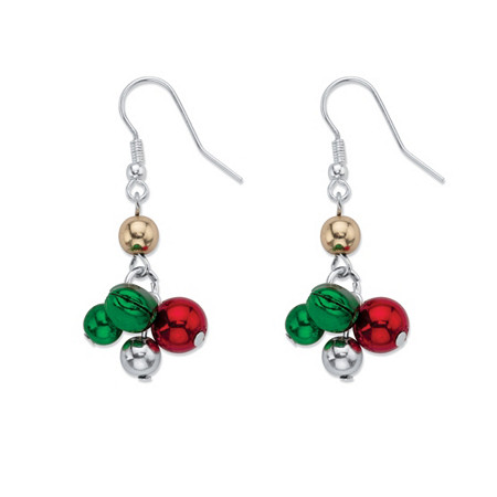 Holiday Red and Green Jingle Bell Drop Earrings in Silvertone at PalmBeach Jewelry