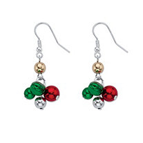 Holiday Red and Green Jingle Bell Drop Earrings in Silvertone
