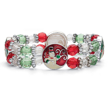 """Holiday Red Green and White Beaded Charm Stretch Bracelet in Silvertone 7"""" at PalmBeach Jewelry"""