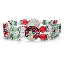 Holiday Red Green and White Beaded Charm Stretch Bracelet in Silvertone 7""