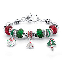 Holiday Red and Green Christmas Bali-Style Beaded Charm Bracelet in Silvertone 7.5""