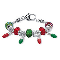 Holiday Red and Green Crystal Bali-Style Beaded Bracelet in Silvertone With Christmas Light Charms 7""