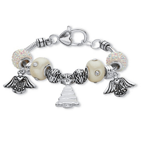 Holiday Black and White Crystal Bali-Style Beaded Charm Bracelet in Silvertone With Angel and Christmas Tree Charms 7.5