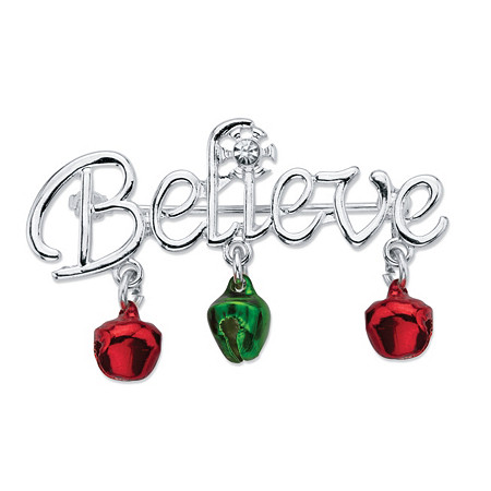 "Holiday Red and Green ""Believe"" Christmas Pin in Silvertone With Jingle Bell Accents at PalmBeach Jewelry"
