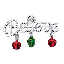 "Holiday Red and Green ""Believe"" Christmas Pin in Silvertone With Jingle Bell Accents"