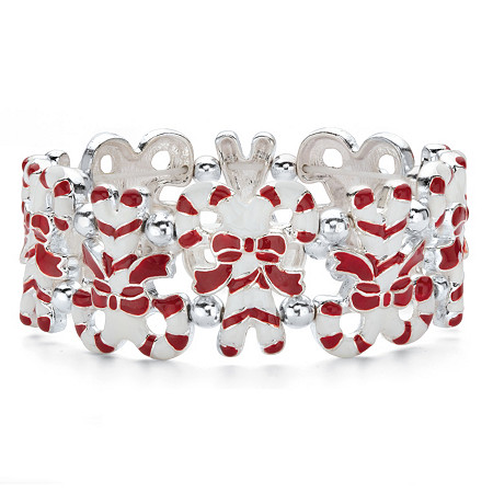 """Holiday Red and White Candy Cane Stretch Bracelet in Silvertone 7"""" at PalmBeach Jewelry"""
