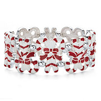 Holiday Red and White Candy Cane Stretch Bracelet in Silvertone 7""