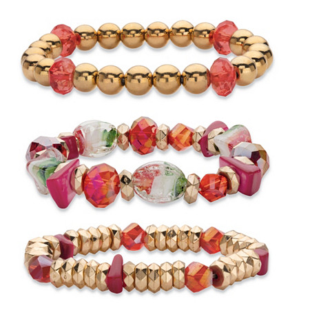 Red and Gold Beaded Charm 3-Piece Stretch Bracelet Set in Gold Tone 7