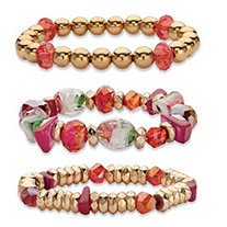 Red and Gold Beaded Charm 3-Piece Stretch Bracelet Set in Gold Tone 7""
