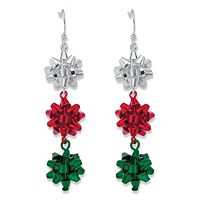 Holiday Silver Red And Green Christmas Bow Drop Earrings ONLY $6.99