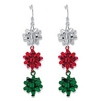 Holiday Silver Red and Green Christmas Bow Drop Earrings in Silvertone