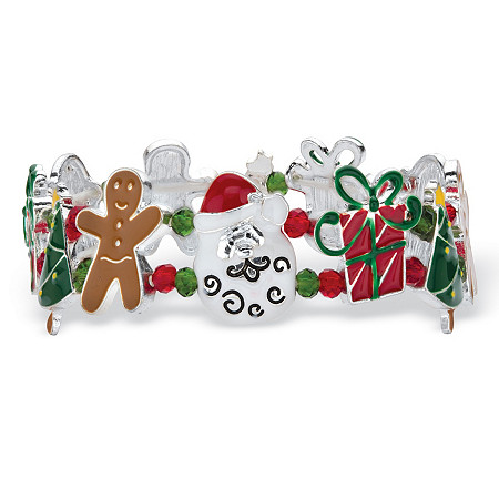 Holiday Christmas Charm Stretch Bracelet in Gold Tone and Silvertone 7