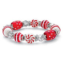 Holiday Red and White Beaded Christmas Candy Stretch Bracelet 7""