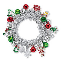 Holiday Red and Green Christmas Charm Stretch Bracelet in Silvertone With Jingle Bells and Crystal Accents 7""