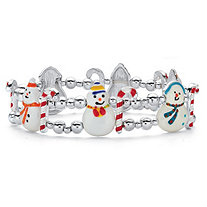 Holiday Snowman and Candy Cane Double Strand Beaded Stretch Bracelet in Silvertone 7""