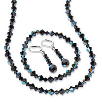"Aurora Borealis Black Crystal 3-Piece Beaded Earring, Necklace and Stretch Bracelet Set in Silvertone 17""-19"""