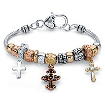 Tri-Tone Crystal Antiqued Silvertone, Gold Tone and Rose Tone Bali-Style Inspirational Cross Beaded Charm Bracelet 7