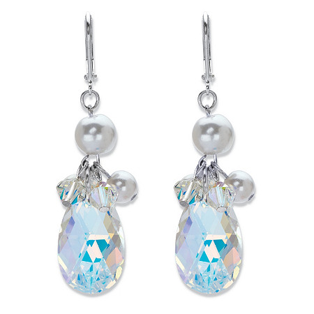 Pear-Cut Aurora Borealis Crystal and Simulated Pearl Silvertone Faceted Drop Earrings at PalmBeach Jewelry
