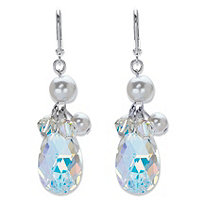 Pear-Cut Aurora Borealis Crystal and Simulated Pearl Silvertone Faceted Drop Earrings