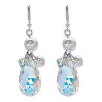Pear-Cut Aurora Borealis Crystal and Simulated Pearl Silvertone Faceted Drop Earrings